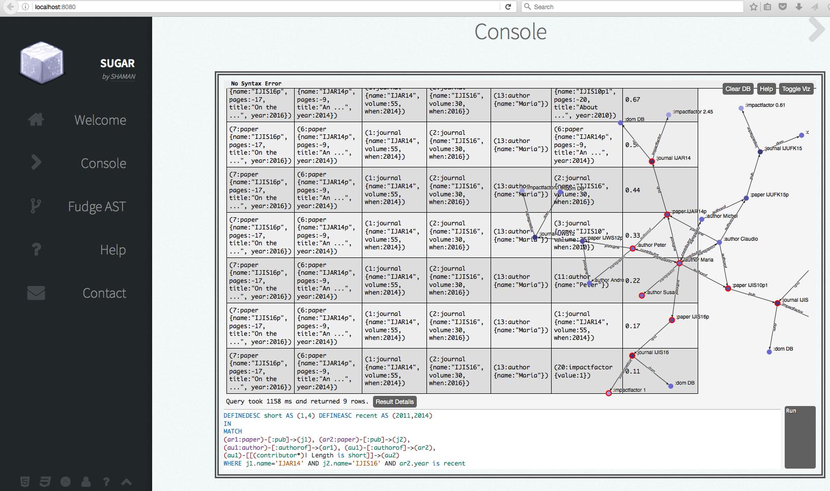 A screenshot of the SUGAR interface